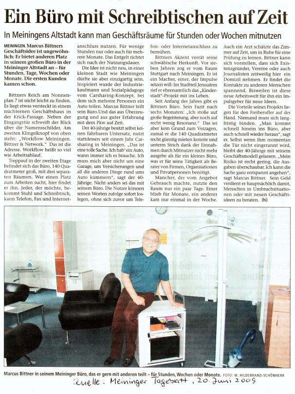 Artikel Meininger Tageblatt Juni 09